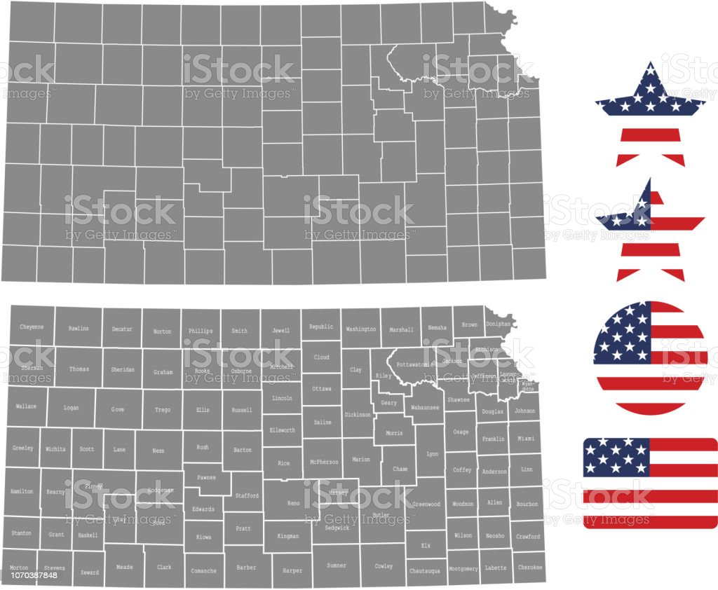 United States Map With County Names.Kansas County Map Vector Outline In Gray Background Kansas State Of