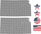 Kansas county map vector outline in gray background. Kansas state of USA map with counties names labeled and United States flag vector illustration designs