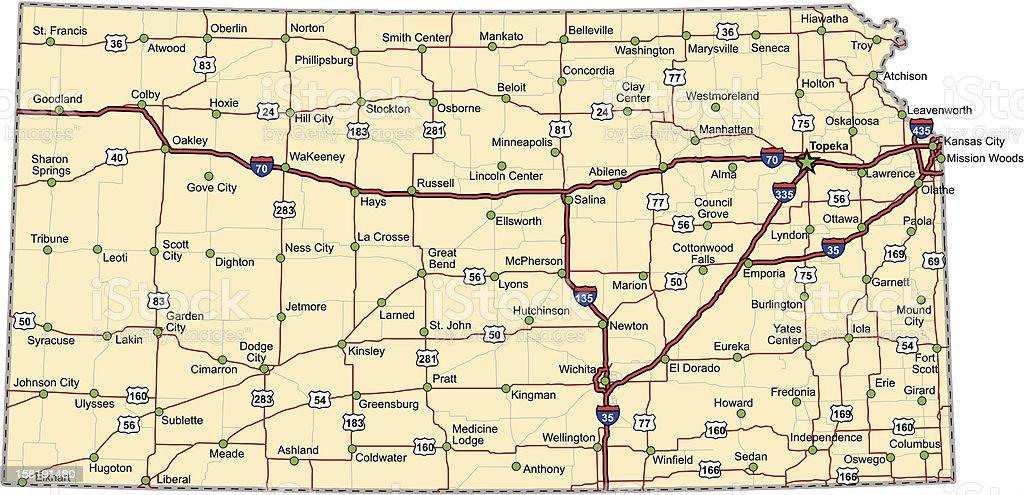 Kansas Highway Karte Vektor Stock Vektor Art Und Mehr Bilder Von