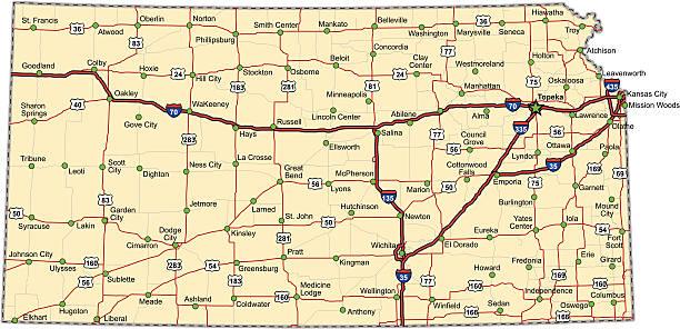 Kansas Highway Map (vector) vector art illustration