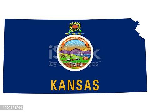 istock Kansas Map Flag Vector illustration Eps 10 1200171244