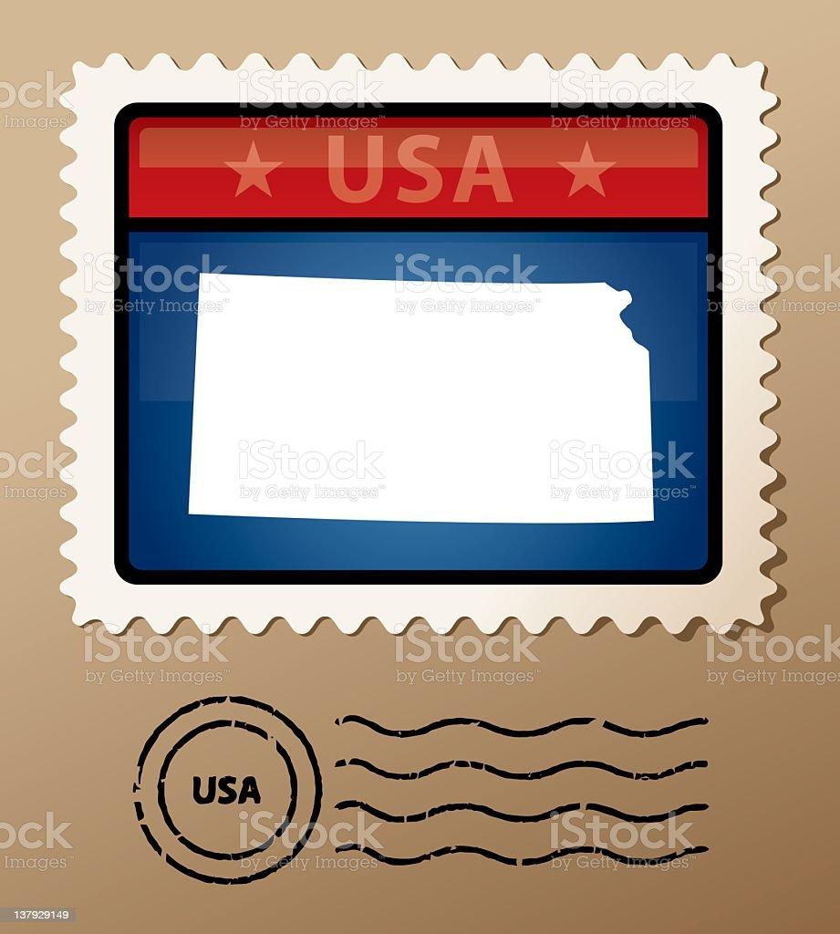 USA Kansas postage stamp royalty-free usa kansas postage stamp stock vector art & more images of blue