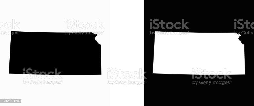 Kansas State Black And White Simple Map Stock Vector Art More