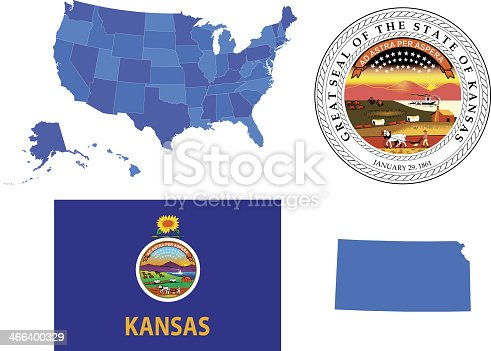 Vector illustration of Kansas state, contains: