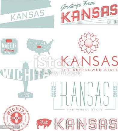 A set of vintage-style icons and typography representing the state of Kansas, including Wichita. Each items is on a separate layer. Includes a layered Photoshop document. Ideal for both print and web elements.