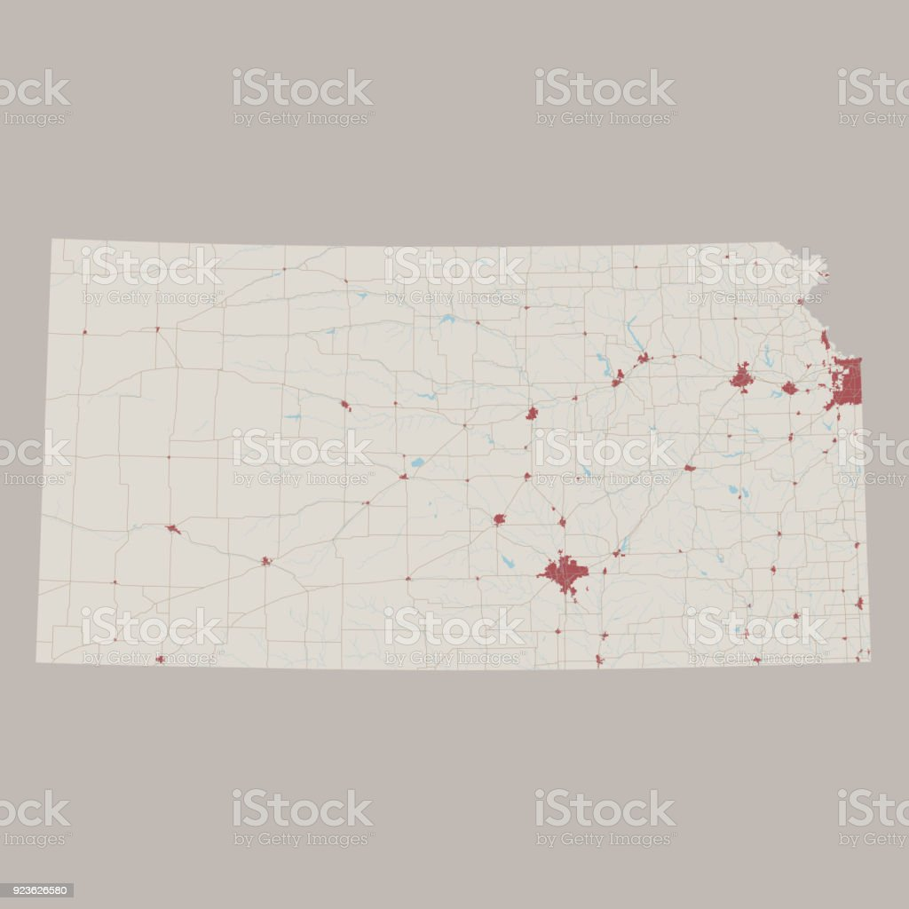 Kansas Us State Road Map Stock Vector Art & More Images of Aerial ...