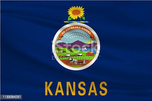 istock Kansas Waving Flag 1133094251