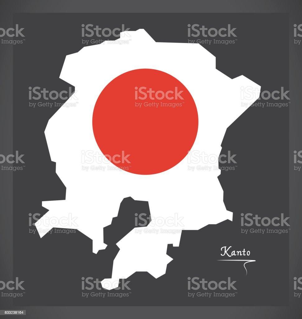 kanto map of japan with japanese national flag illustration stock