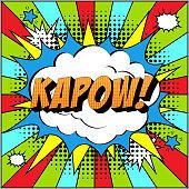 istock Kapow Comic Text on Explosion Speech Bubble in Pop Art Style. 1209755674