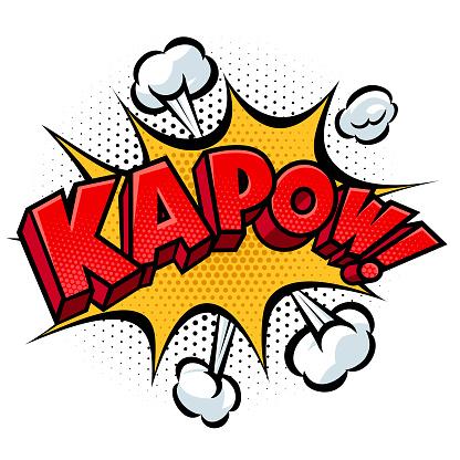Kapow Text On Comic Book Exploding Shape.