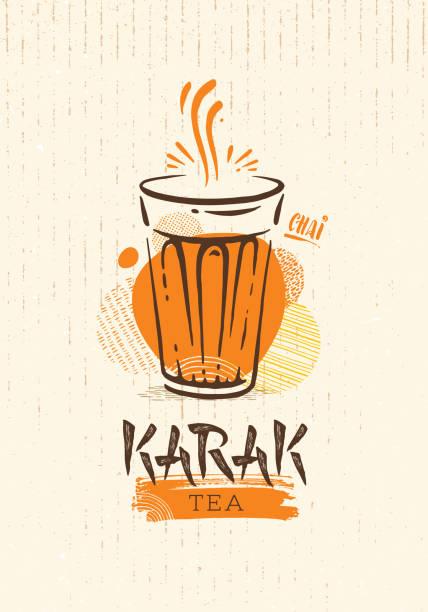 karak milk chai illustration on organic background. spicy hot tea design element vector design - oman stock illustrations