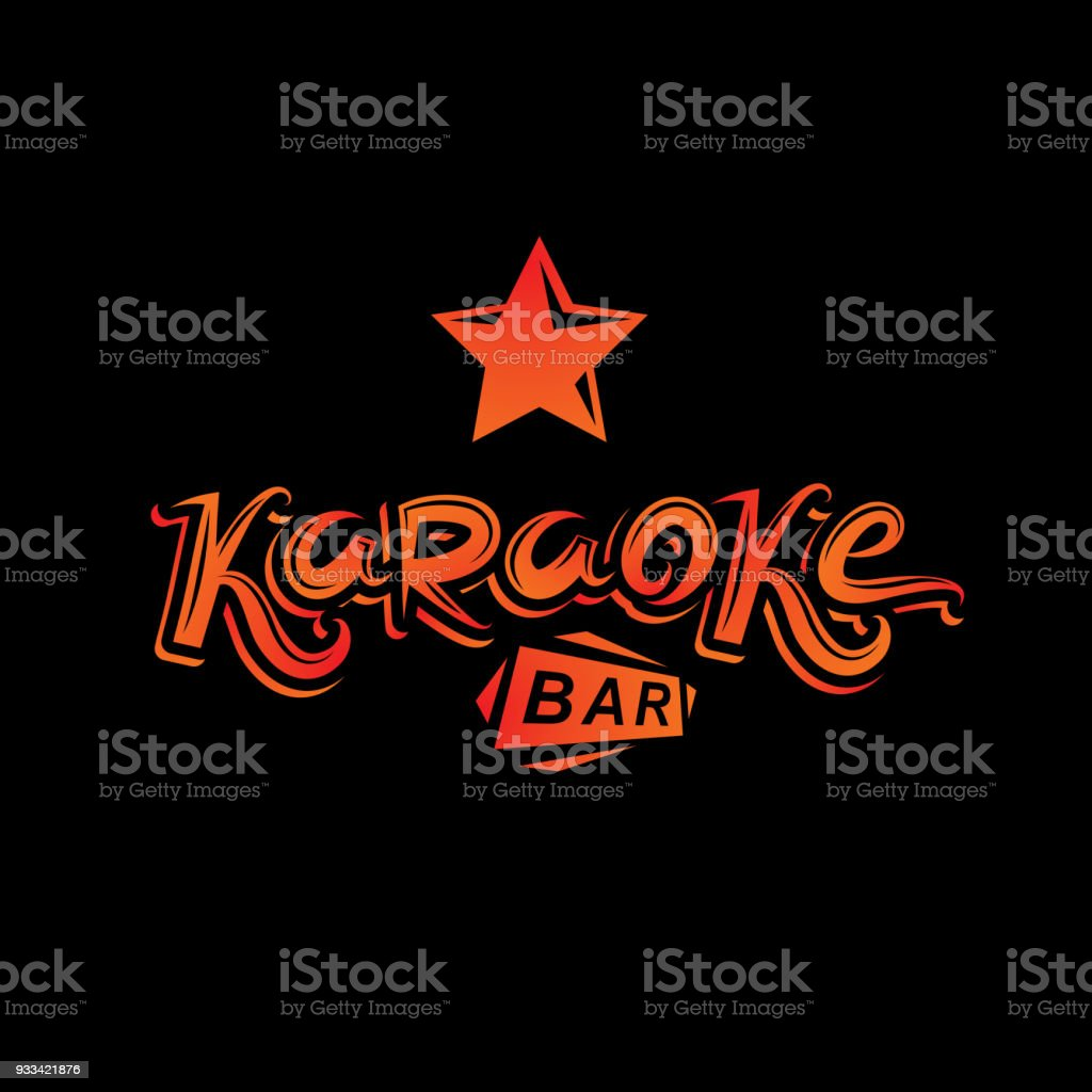karaoke bar calligraphy lettering can be used as design element for