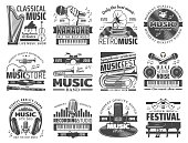 Music recording studio label, karaoke bar and jazz festival icons. Vector music band instruments, classical harp, piano and violin, musical store and DJ headphones with microphone and notes