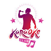 Karaoke club flyers vector cover design created using musical notes, stars and soloist singing to microphone. Emcee show advertising poster