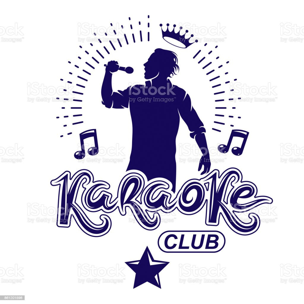 Karaoke club flyers vector cover design created using musical notes, stars and soloist singing to microphone. Emcee show advertising poster vector art illustration
