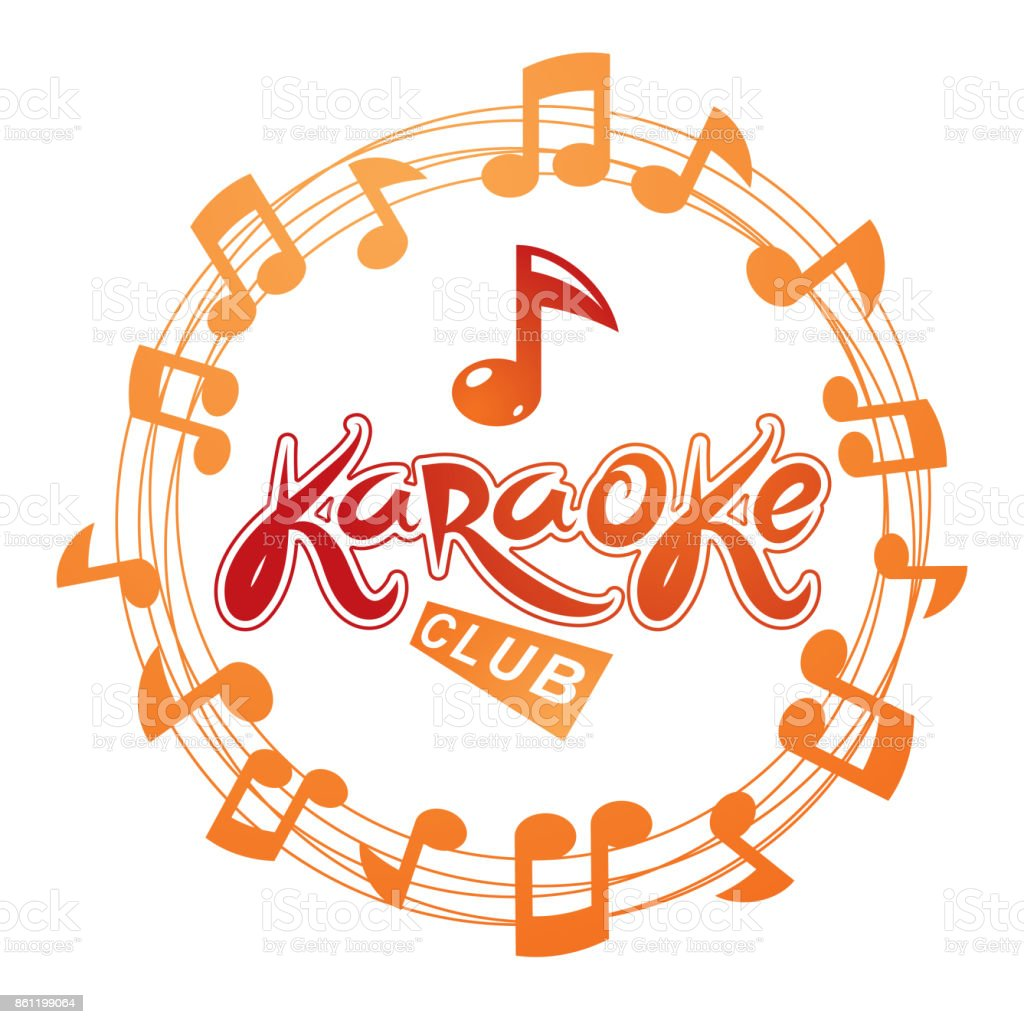 Karaoke club vector background composed with circular musical notes sheet. Can be used as nightlife entertainment concept for advertising poster. vector art illustration