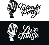 Karaoke hand written lettering emblem with retro vintage microphone. Live music label. Isolated on background. Vector illustration.