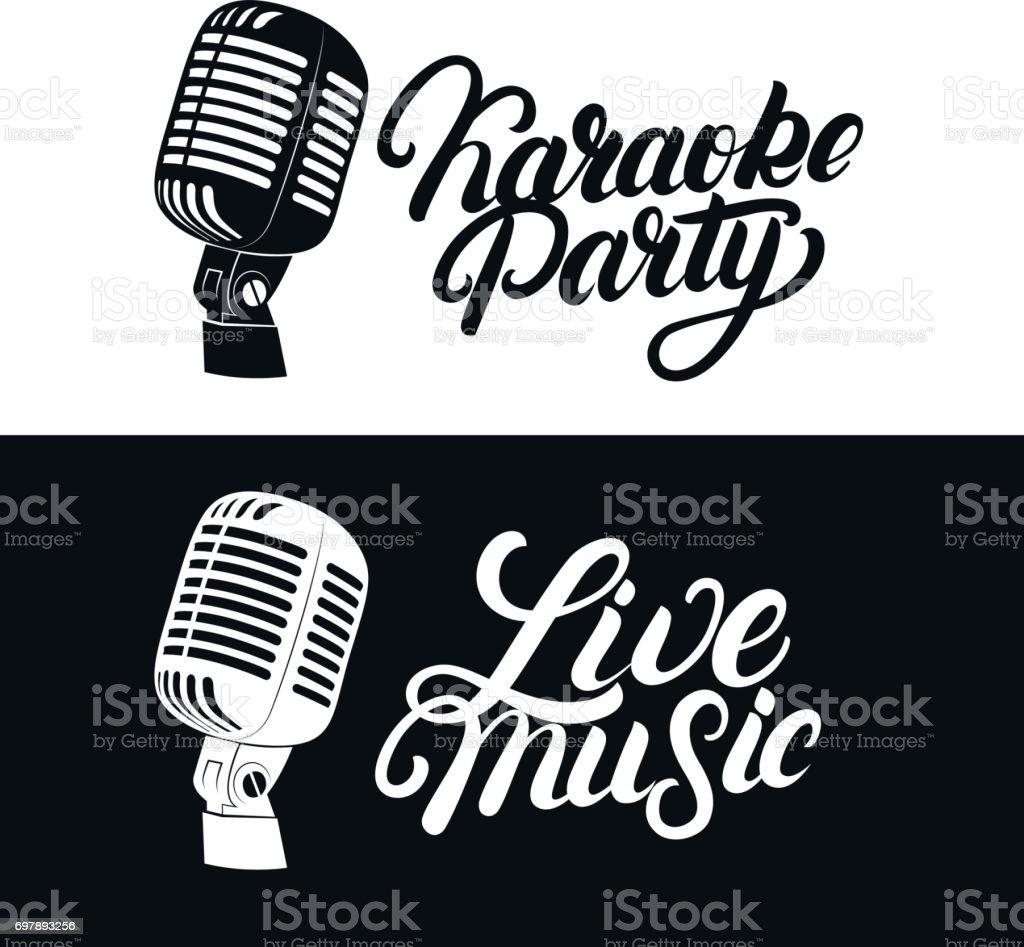 Karaoke hand written lettering emblem with retro vintage microphone. vector art illustration