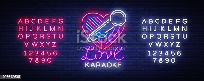 Karaoke Love neon style. Neon sign, bright nightly neon advertising Karaoke. Light banner, bright night billboard. Vector illustration. Editing text neon sign.