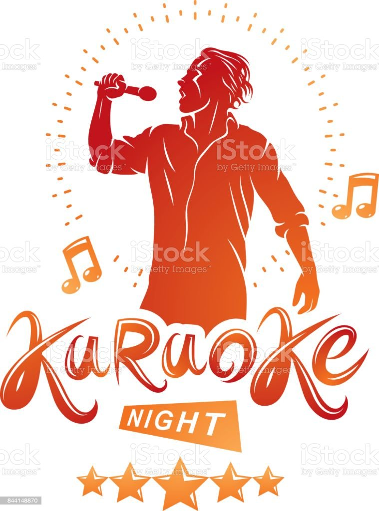 Karaoke night and nightclub discotheque vector invitation poster created with musical notes, stars and soloist singing and holding a microphone in hand. vector art illustration