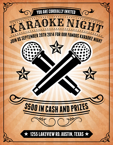 Karaoke Night Invitation on royalty free vector Background Poster