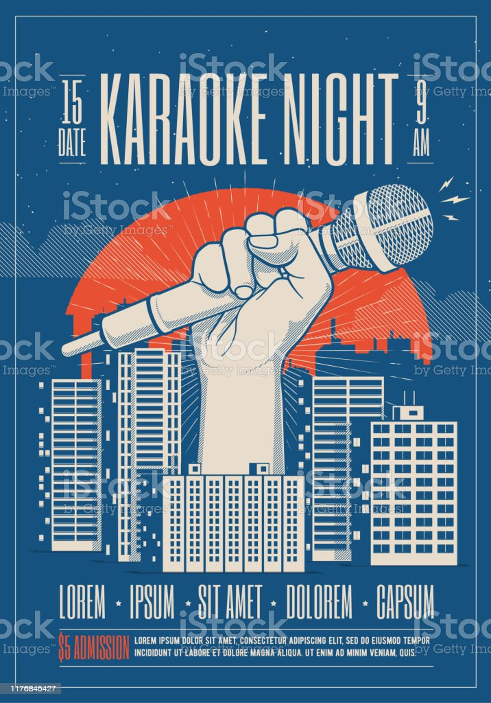 Karaoke night party event card, flyer, poster template with night cityscape and giant hand holding microphone. Vector illustration. - Векторная графика Большой город роялти-фри