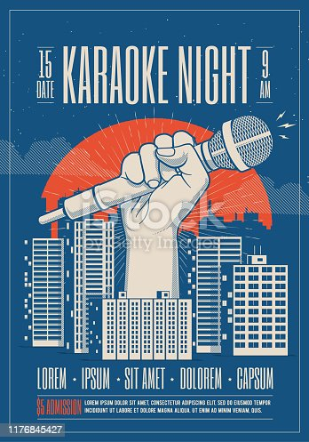 Karaoke night party event card, flyer, poster template with night cityscape and giant hand holding microphone. Vector eps 10 illustration.