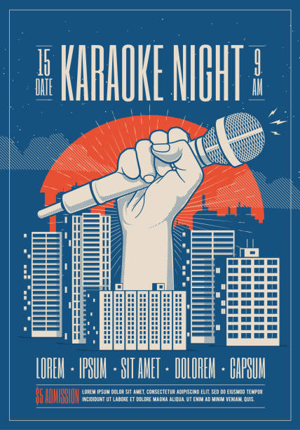 karaoke night party event card, flyer, poster template with night cityscape and giant hand holding microphone. vector illustration. - holiday background stock illustrations