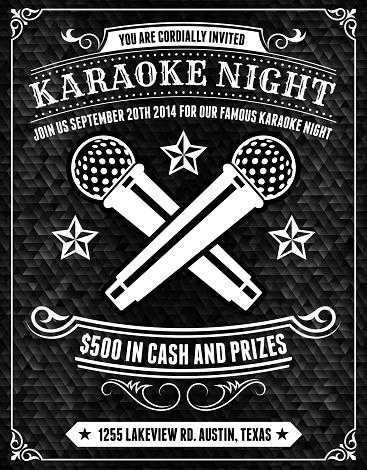 Karaoke Night Poster on Black Background