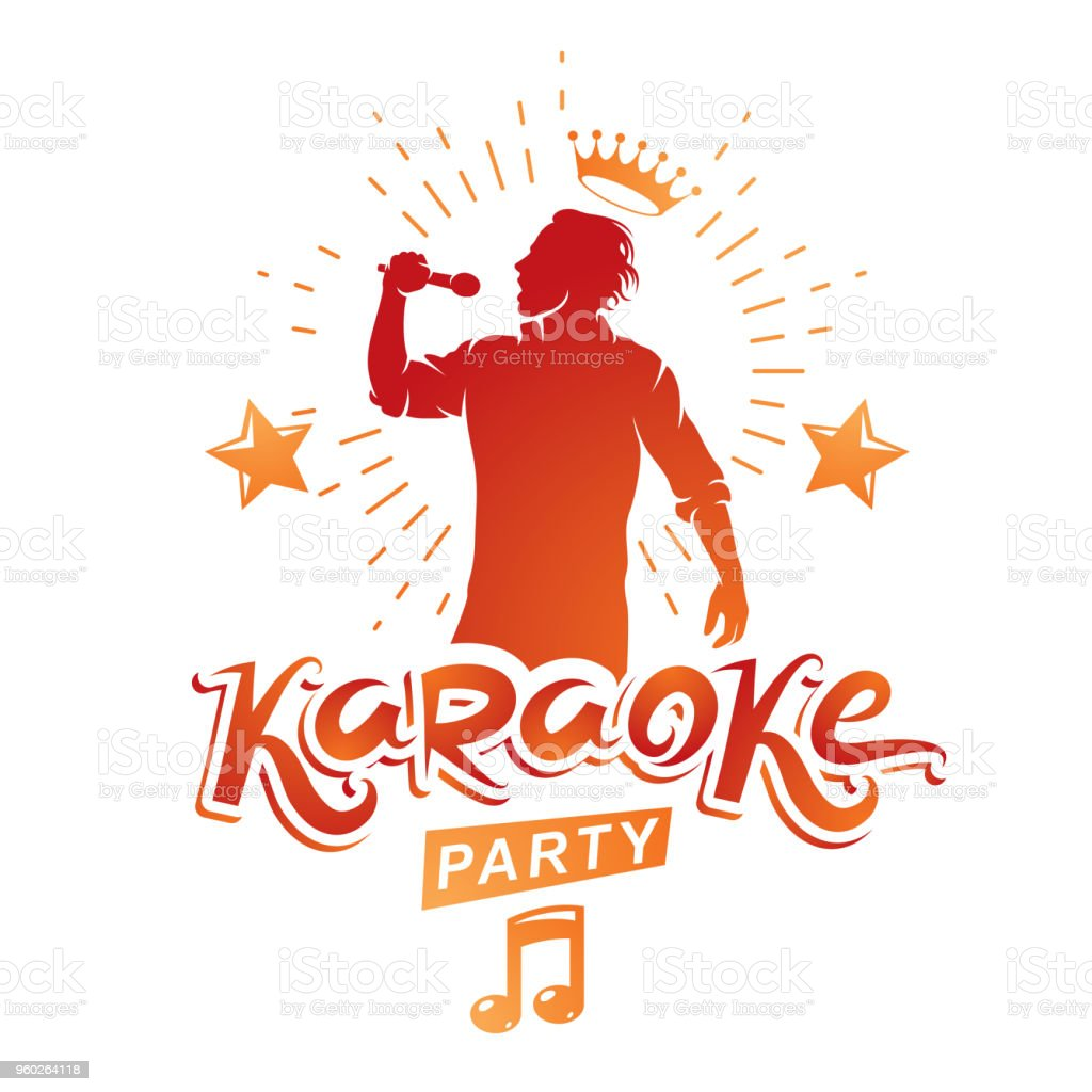 Karaoke party advertising poster composed with stage or recorder microphone vector illustration and musical notes. Superstar performance advertising announcement, feel yourself like a star. vector art illustration