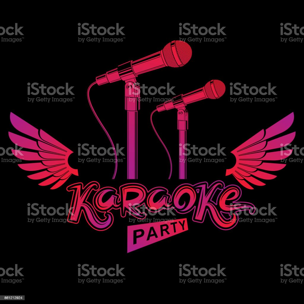 Karaoke Party Advertising Poster Live Music Vector Concert