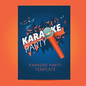 Karaoke party flyer with microphone and orange particles on a blue background