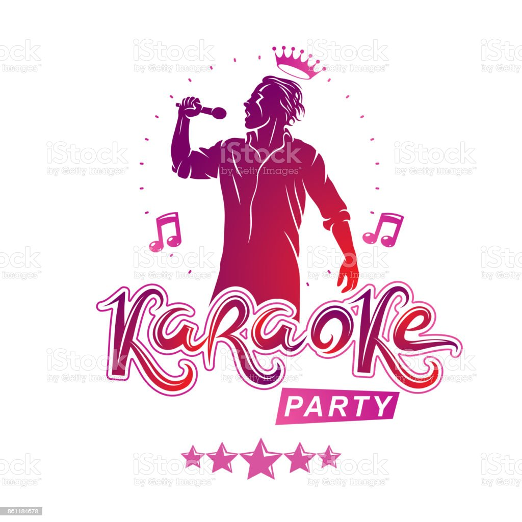 Karaoke party flyers vector cover design created using musical notes, stars and soloist singing to microphone. Emcee show advertising poster vector art illustration