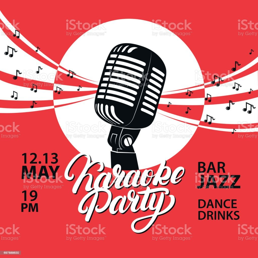 Karaoke Party Hand Written Lettering Invitation Poster Design ...
