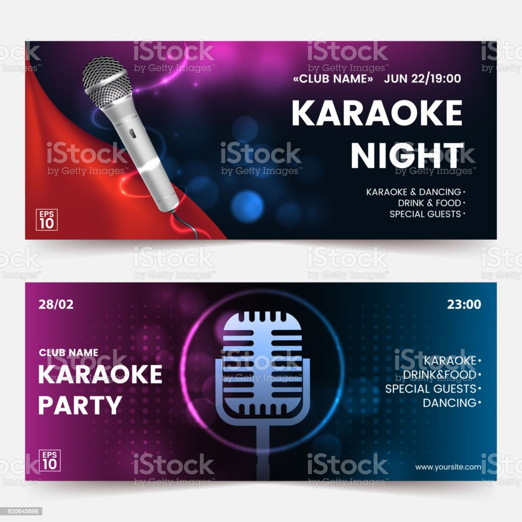 Karaoke party invitation flyer template. Karaoke tickets. Dark background with abstract light and glare. Composition with Silver microphone silhouette. Horizontal format. Vector eps 10. vector art illustration