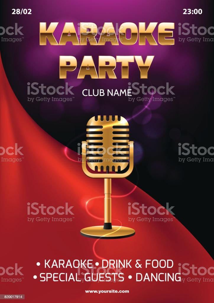 Karaoke Party Invitation Flyer Template Red Curtain On The ...