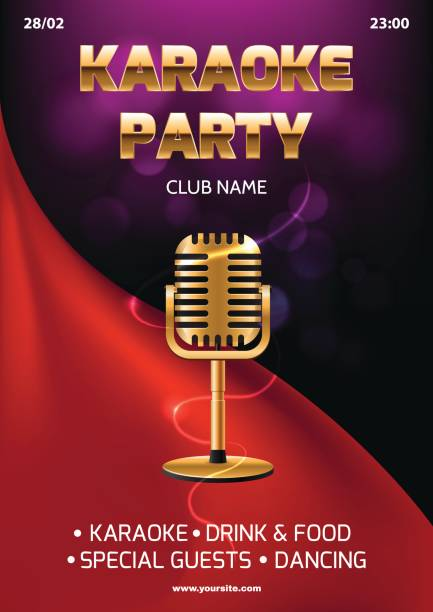 Karaoke party vetores e ilustraes royalty free istock karaoke party invitation flyer template red curtain on the abstract background light and glare stopboris Choice Image