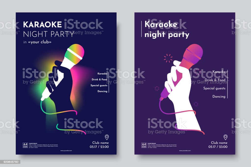 Karaoke party invitation flyer template. Silhouette of Hand with microphone on an abstract dark background. Concept for a night club advertising company. Creative invite poster. Vector eps 10 vector art illustration