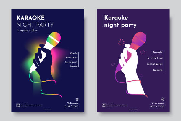 Karaoke party invitation flyer template. Silhouette of Hand with microphone on an abstract dark background. Concept for a night club advertising company. Creative invite poster. Vector eps 10 Karaoke party invitation flyer template. Silhouette of Hand with microphone on an abstract dark background. Concept for a night club advertising company. Creative invite poster. Vector eps 10 singer stock illustrations