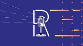 Poster, Microphone, Sound Recording Equipment, Letter R, Banner - Sign