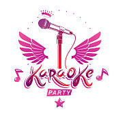 Karaoke party invitation poster, live music vector concert advertising leaflet composed using stage or recorder microphone, wings and musical notes. Feel yourself like a king of scene.