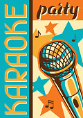 Karaoke party poster. Music event banner. Illustration with microphone in retro style.