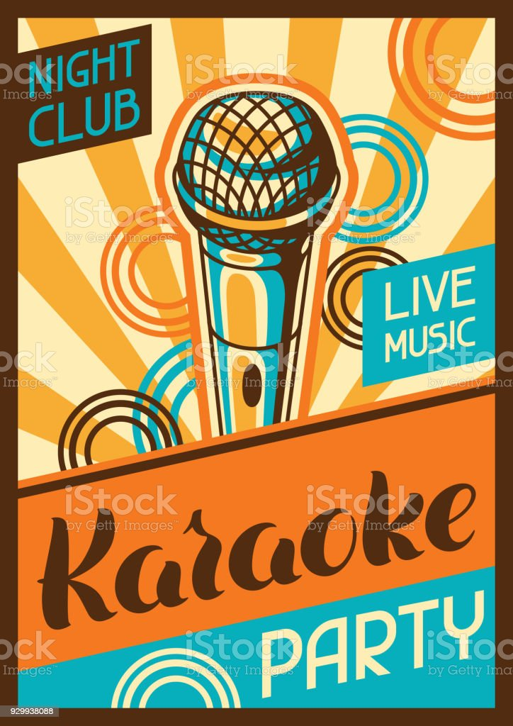 Karaoke Party Poster Music Event Banner Illustration With Microphone In Retro Style Stock Illustration Download Image Now Istock