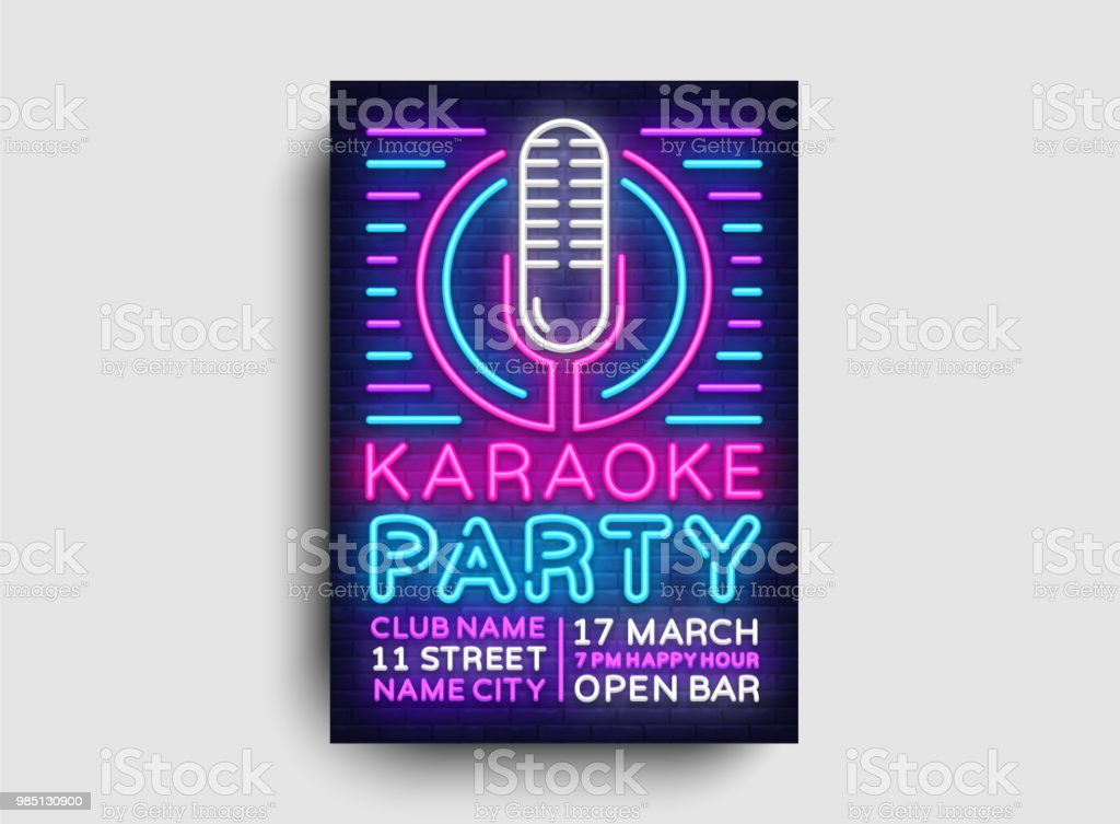 karaoke party poster neon vector karaoke night design template