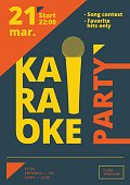 Karaoke party poster or flyer template in A4 size. Song contest pre-made layout. Music night club event banner or promotional material.