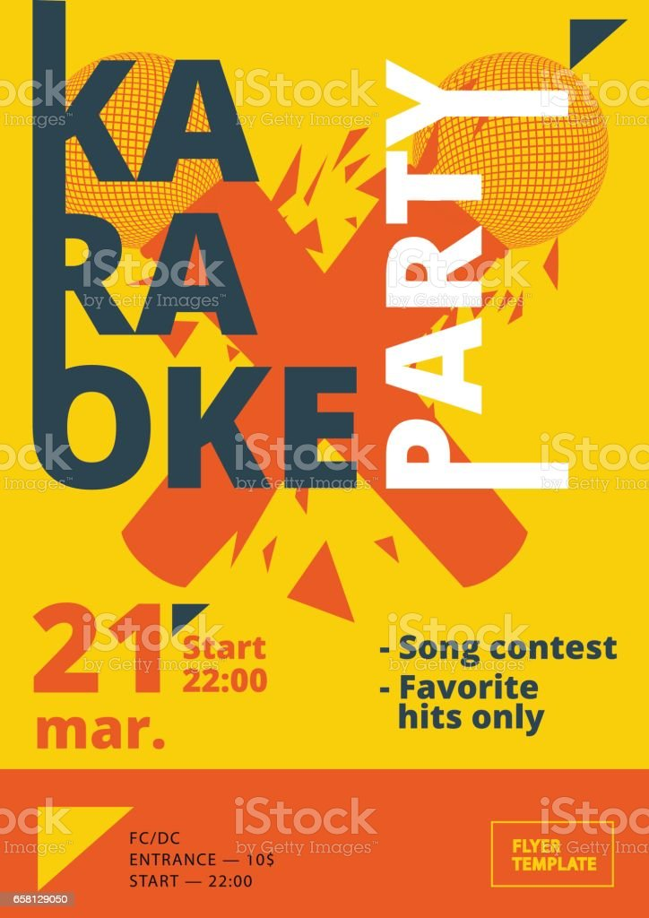 karaoke party poster or flyer template in a4 size song contest