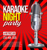 Karaoke party retro vintage poster