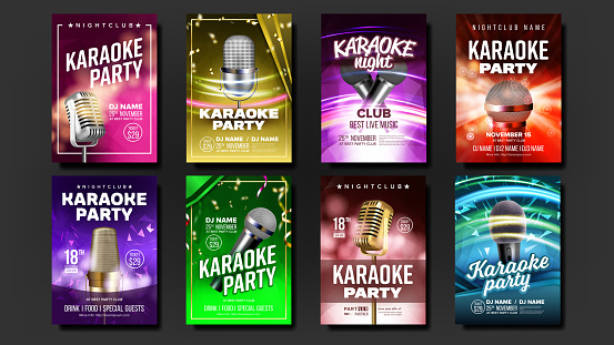 Karaoke Poster Set Vector. Music Night. Sing Song. Dance Event. Vintage Studio. Old Bar. Speaker Label.Entertainment Competition. Musical Record. Broadcast Object. Realistic Illustration
