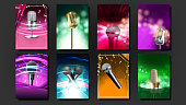 Karaoke Poster Template Blank Set Vector. Mic Design. Disco Banner. Voice Equipment. Sing Song. Luxury Emblem. Audio Element. Dance Event. Realistic Illustration