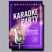 Karaoke Poster Vector. Broadcast Object. Karaoke Music Night Style. Colorful Instrument. Realistic Illustration
